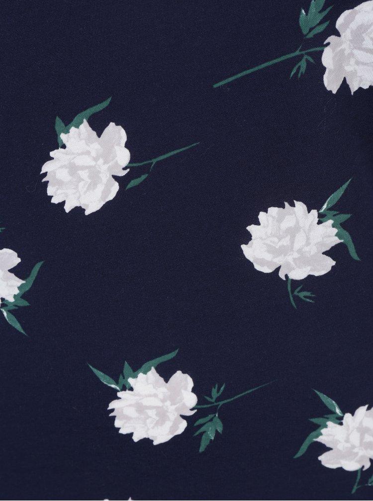 Bluza bleumarin cu print floral si decolteu rotund - Dorothy Perkins