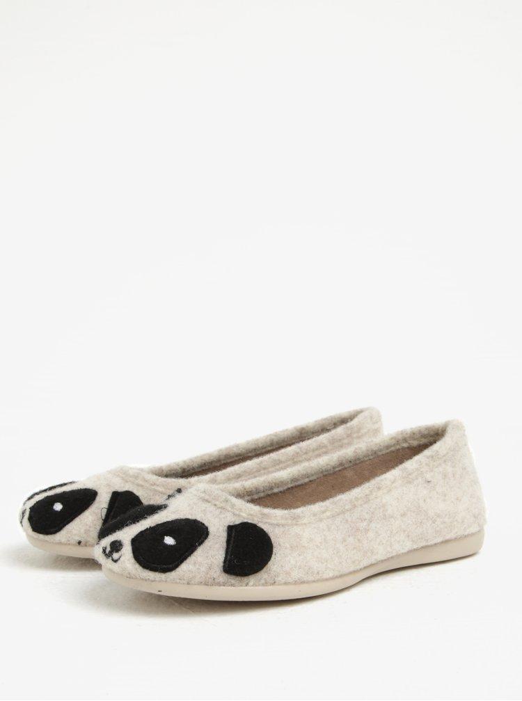 Béžové holčičí papuče s motivem pandy OJJU
