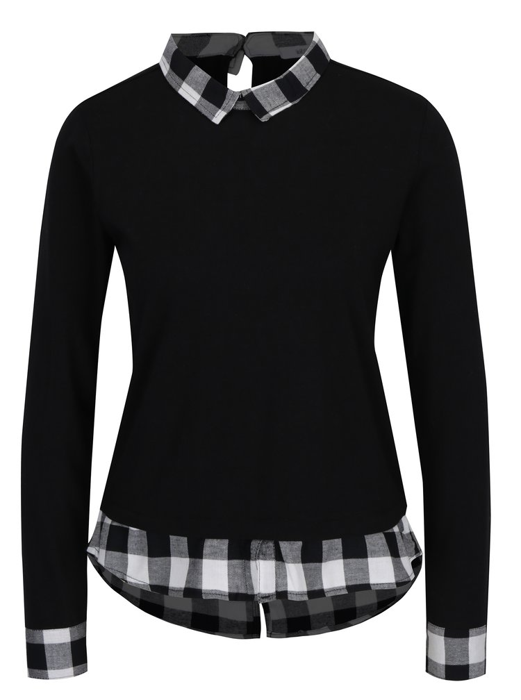 Bluza neagra cu terminatii de camasa - Haily´s Tubi