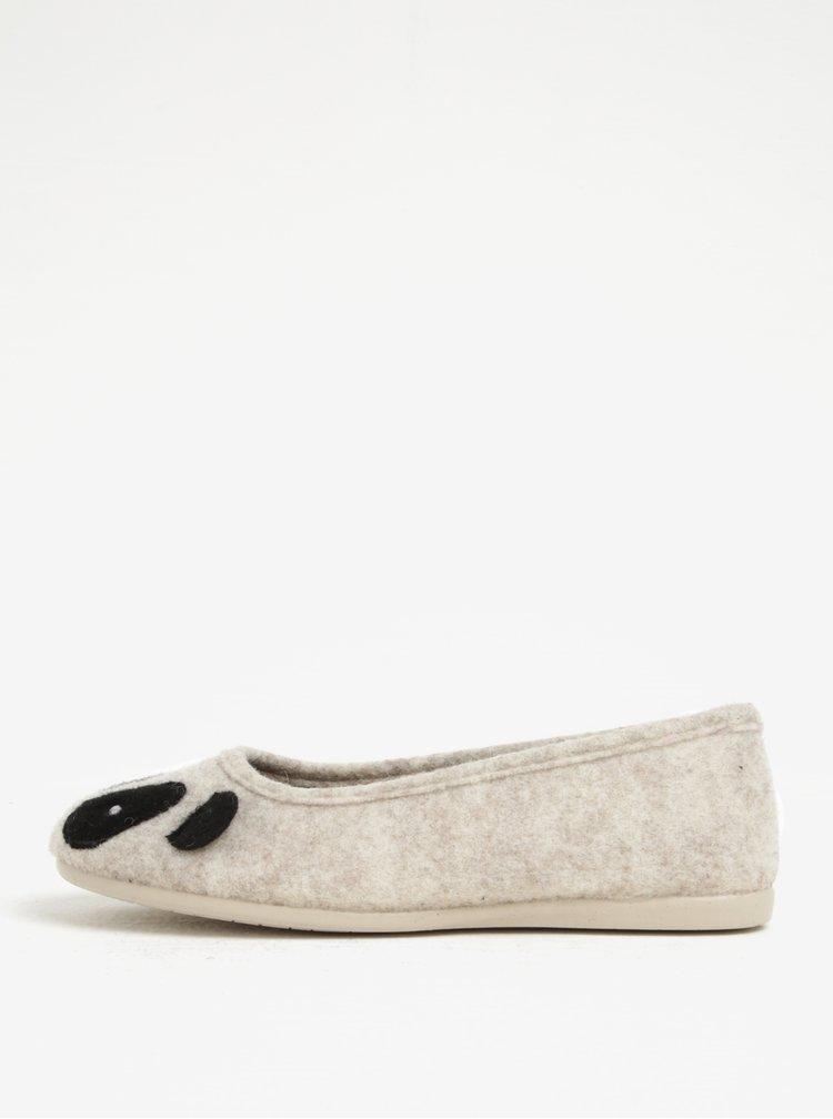 Béžové papuče s motivem pandy OJJU