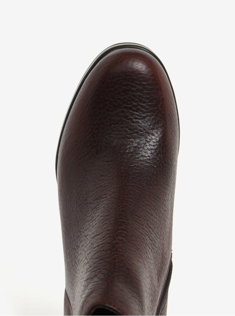 Hnědé dámské kotníkové kožené boty na podpatku Camper Cigar