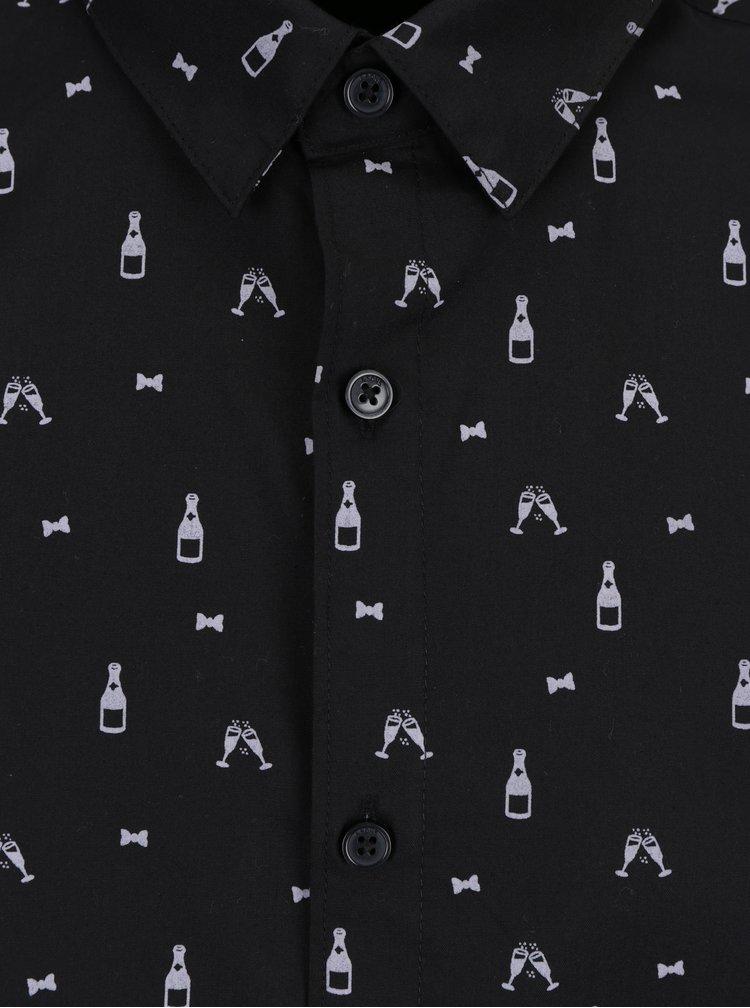 Černá vzorovaná košile ONLY & SONS Buddy