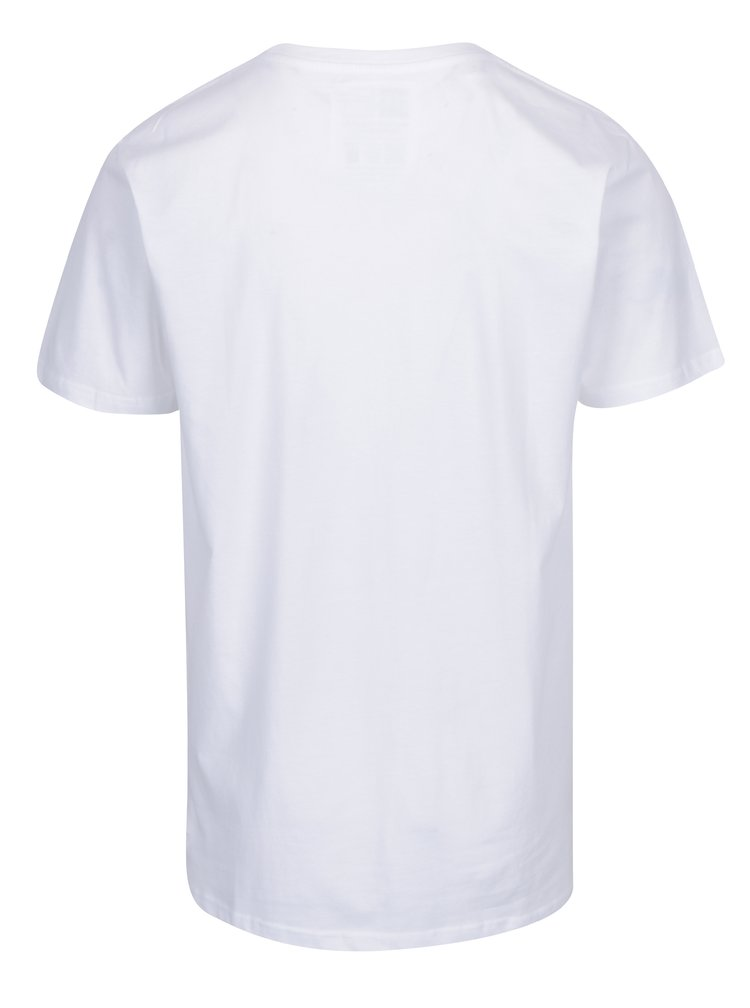 Tricou alb cu print curcubeu Dedicated Stockholm Rainbow Vibes