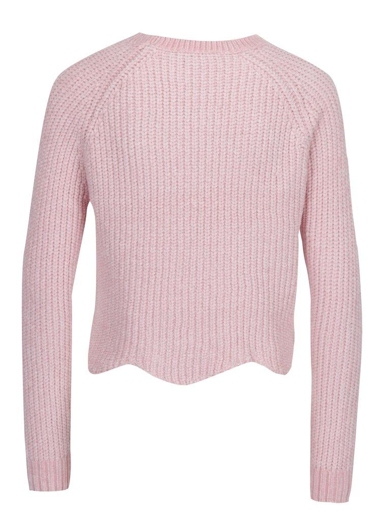 Světle růžový krátký svetr s tvarovaným lemem TALLY WEiJL
