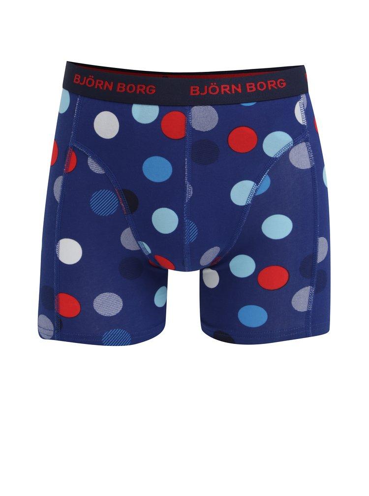 Sada tří boxerek v červené a modré barvě se vzorem Björn Borg