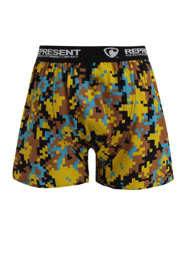 Boxeri maro cu print geometric si talie elastica cu logo - Represent Mike Digital Emotions Yellow