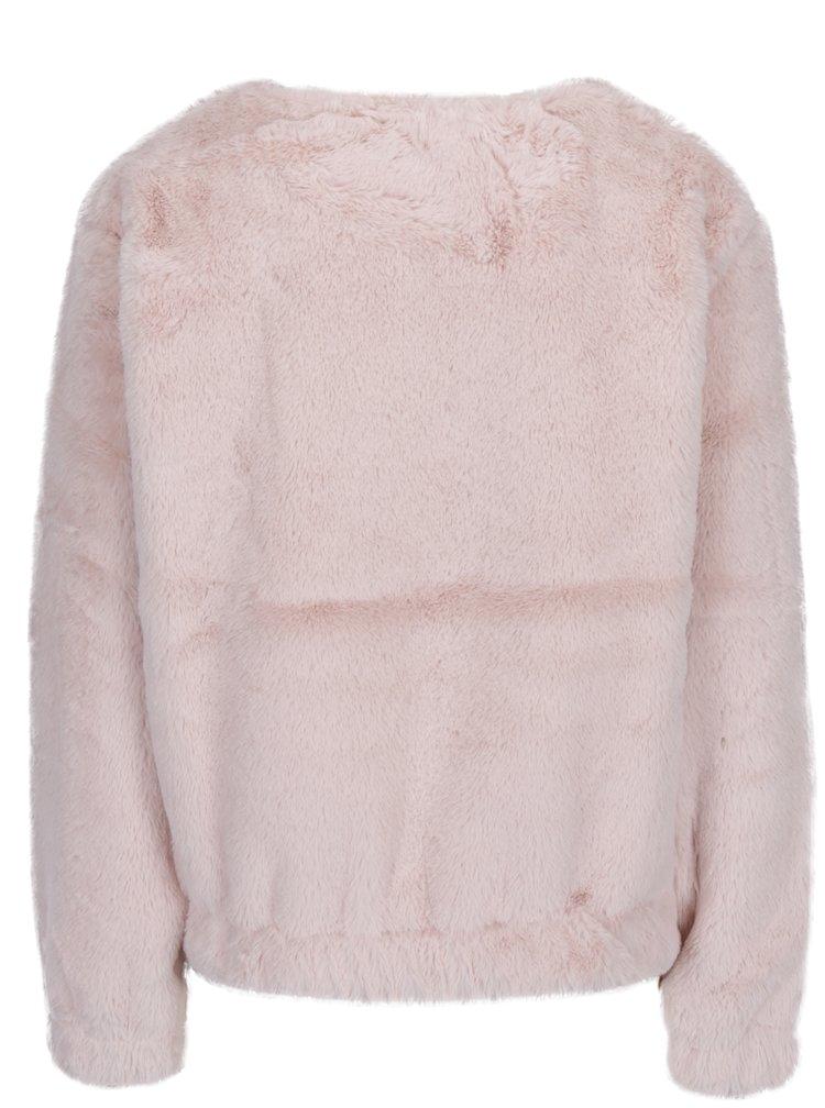 Světle růžová mikina z umělého kožíšku TALLY WEiJL