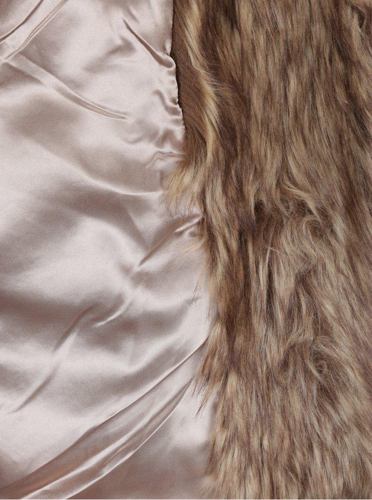 Hnědý krátký kabát z umělé kožešiny Miss Selfridge