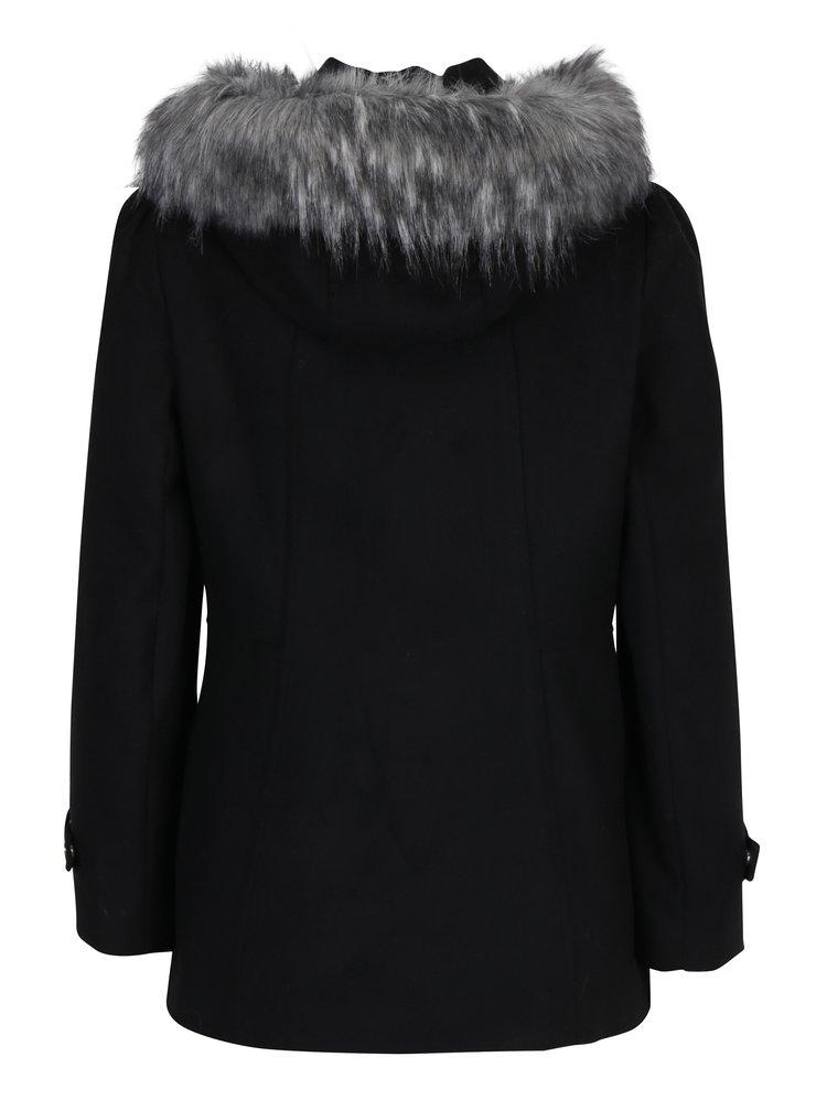Černý kabát s kapucí Miss Selfridge Petites