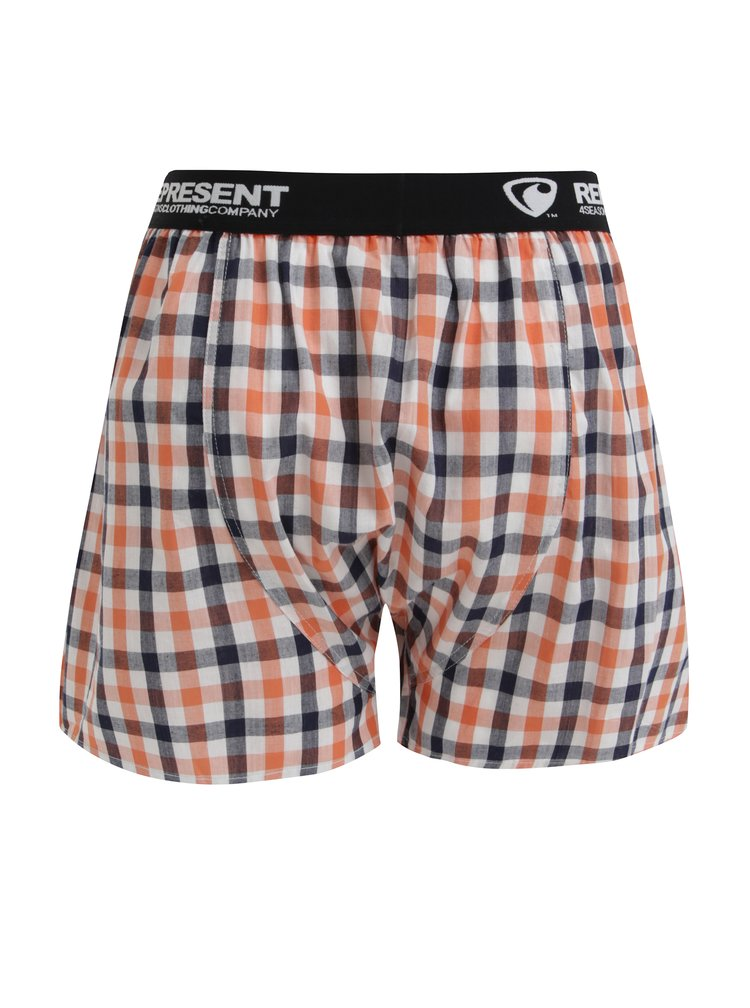 Šedo-oranžové kostkované trenýrky Represent Mikebox