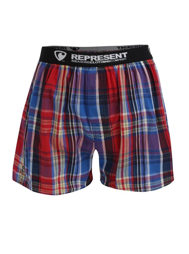 Boxeri cu talie elastica si carouri rosu & albastru - Represent Mikebox