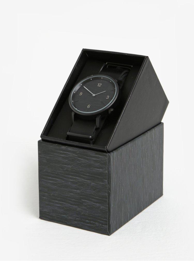 Unisex hodinky s černým koženým páskem Komono Magnnus