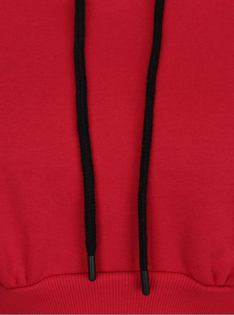 Červená crop mikina s kapucí Miss Selfridge