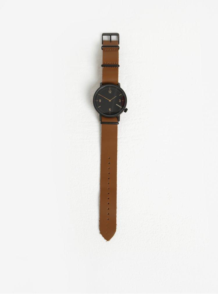 Černé pánské hodinky s hnědým koženým páskem Komono Magnnus