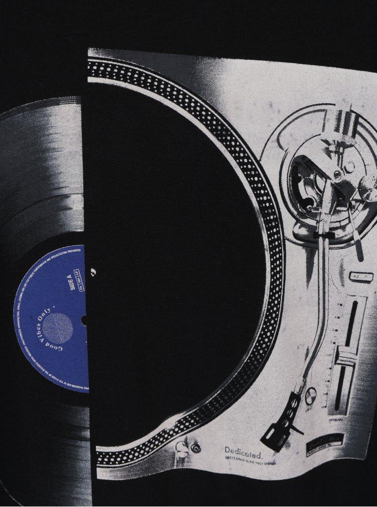 Tricou negru cu print Dedicated Stockholm Vinyl Split
