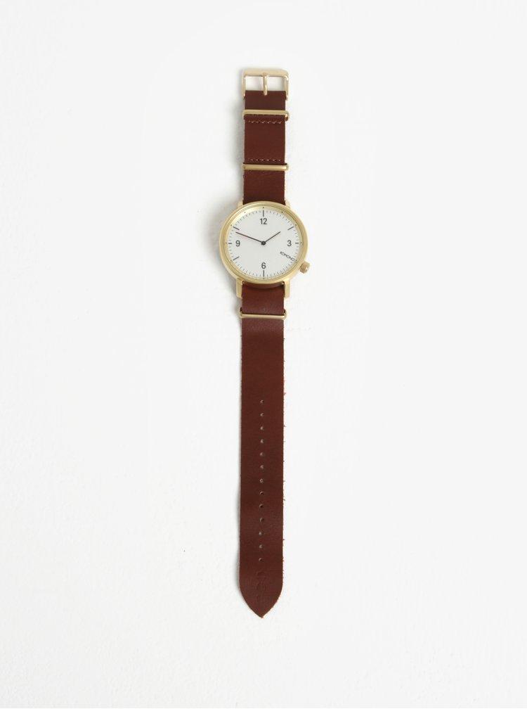 Unisex hodinky s hnědým koženým páskem Komono Magnnus