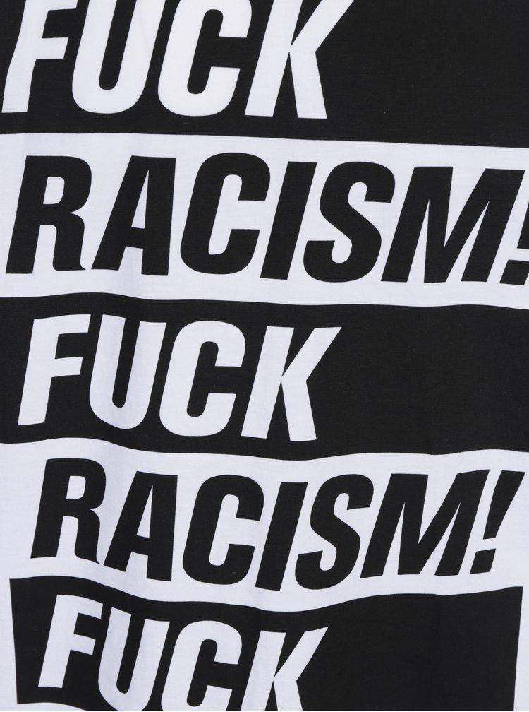 Tricou alb cu print mesaj Dedicated Stockholm Fuck Racism