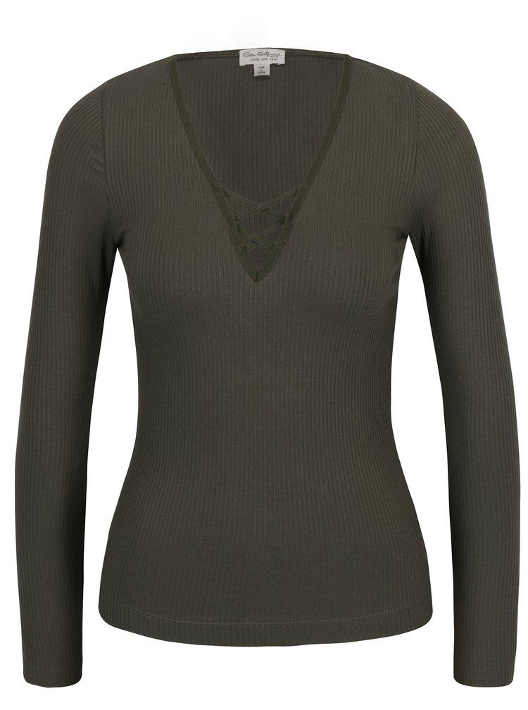 Khaki žebrované tričko se šněrováním Miss Selfridge