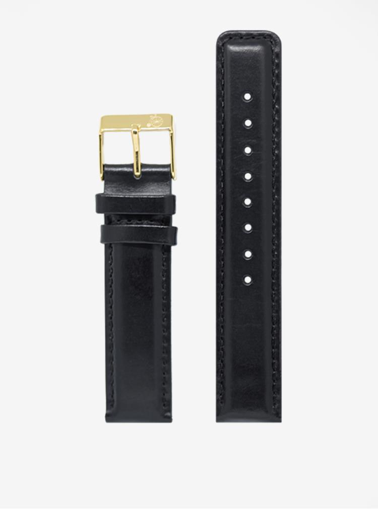 Unisex hodinky ve zlaté barvě s černým koženým páskem LARSEN & ERIKSEN  37 mm