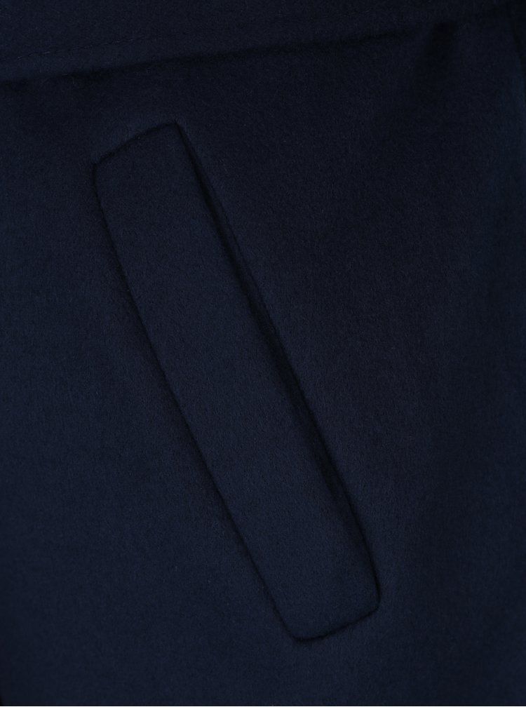 Pardesiu bleumarin cu revere si cordon in talie - ZOOT