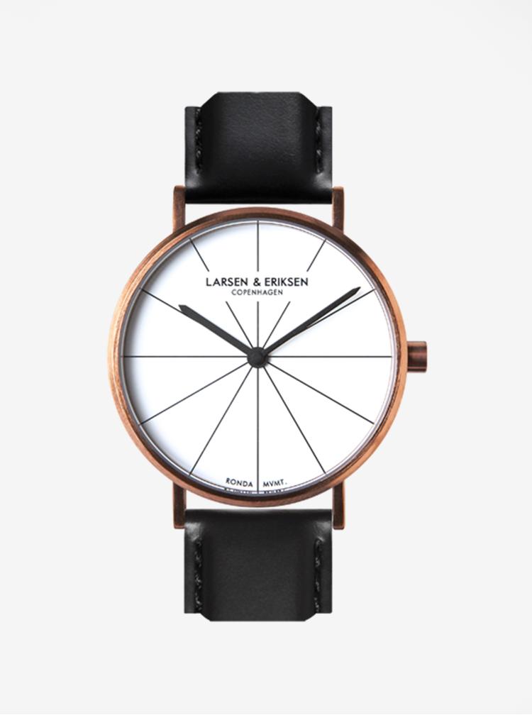 Unisex hodinky s černým koženým páskem LARSEN & ERIKSEN  37 mm