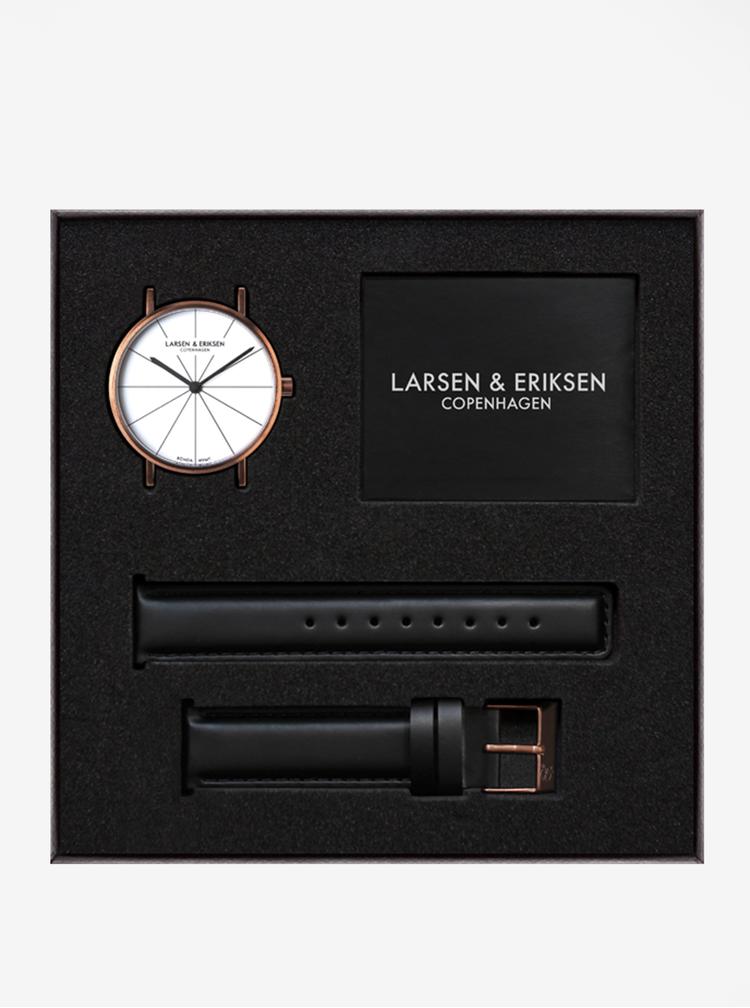 Hodinky s čiernym koženým remienkom LARSEN & ERIKSEN