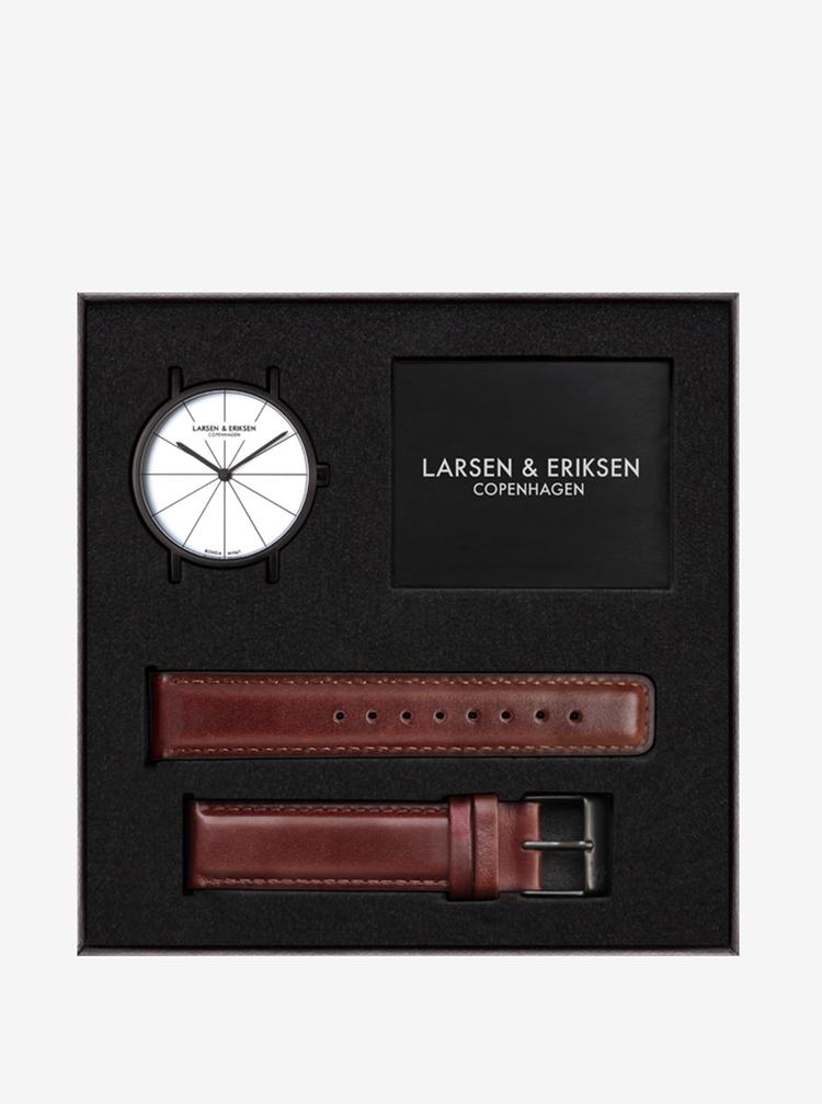 Černé unisex hodinky s hnědým koženým páskem LARSEN & ERIKSEN 41 mm