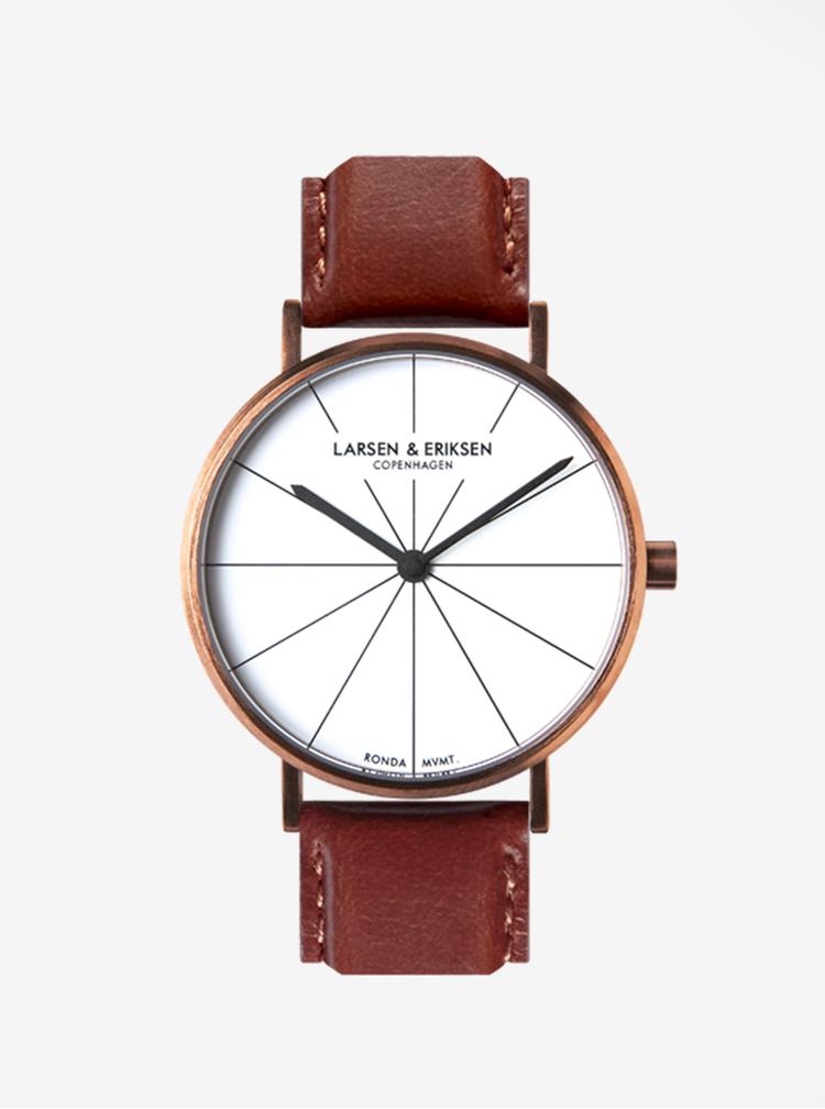 Unisex hodinky v měděné barvě s koženým páskem LARSEN & ERIKSEN 41 mm