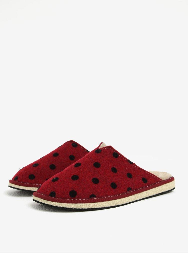 Červené puntíkované papuče OJJU