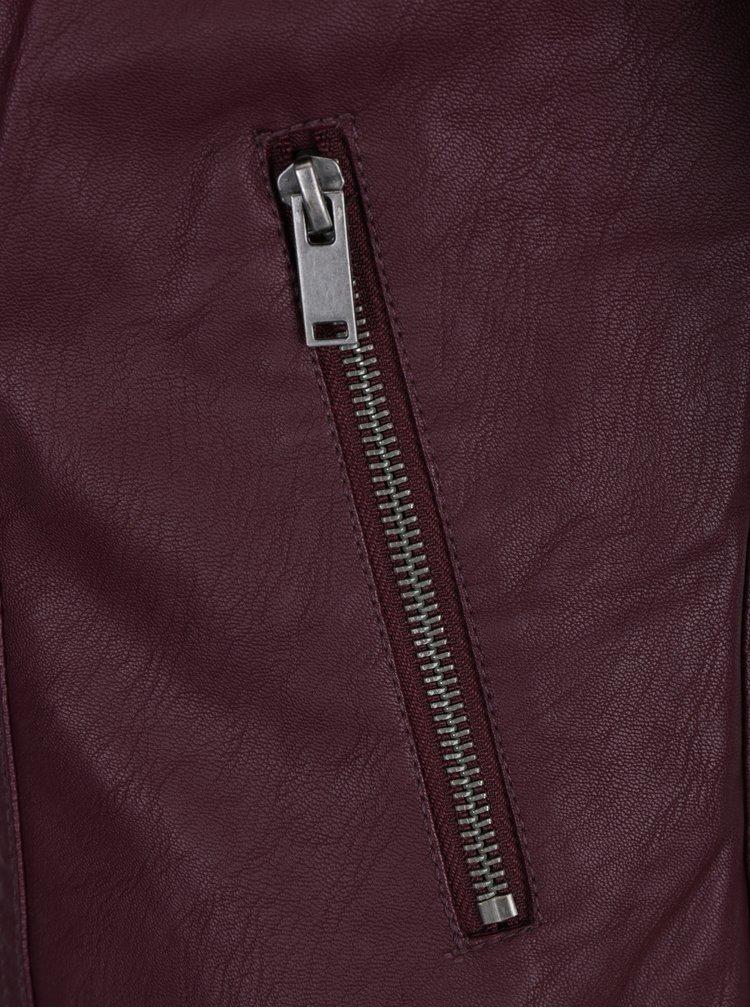 Vínová koženková bunda VILA Bethella