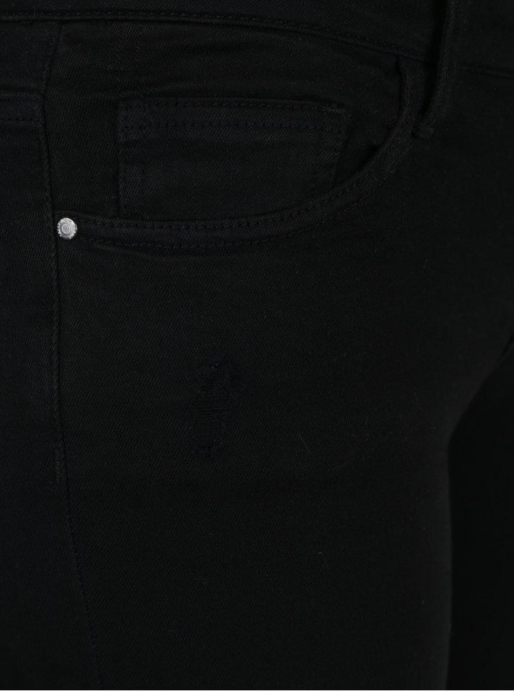 Blugi skinny negri cu aspect deteriorat si panglici decorative -  TALLY WEiJL