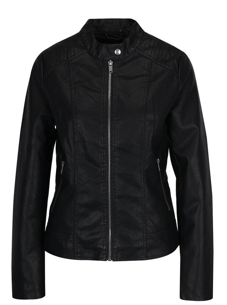 Jacheta neagra din piele sintetica VILA Bethella
