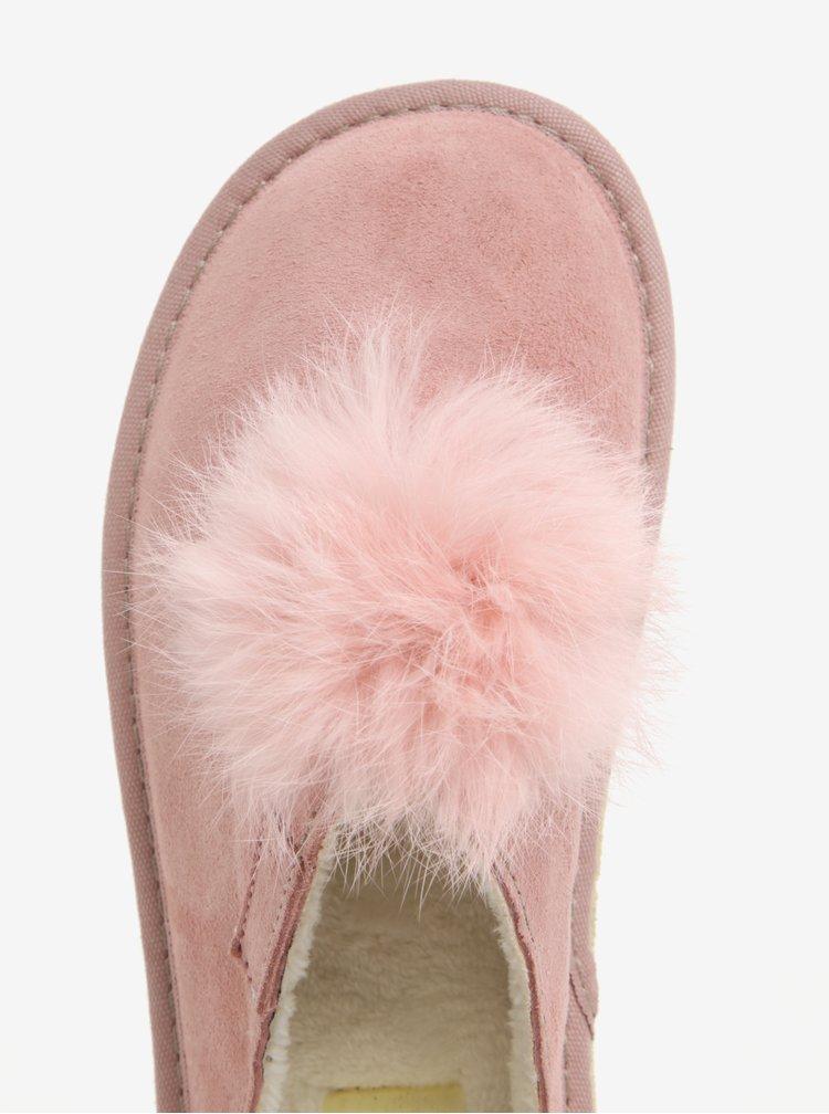 Papuci roz de casa din piele intoarsa si pompon pentru femei - OJJU