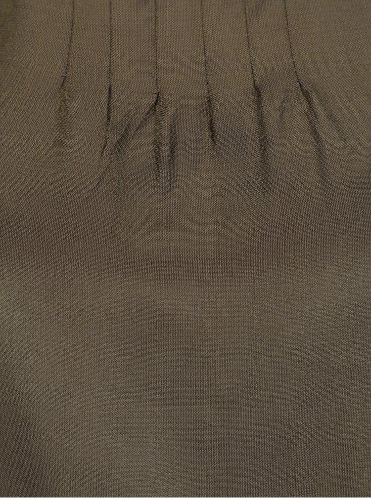Kaki lesklý top bez rukávov VILA Shimmer