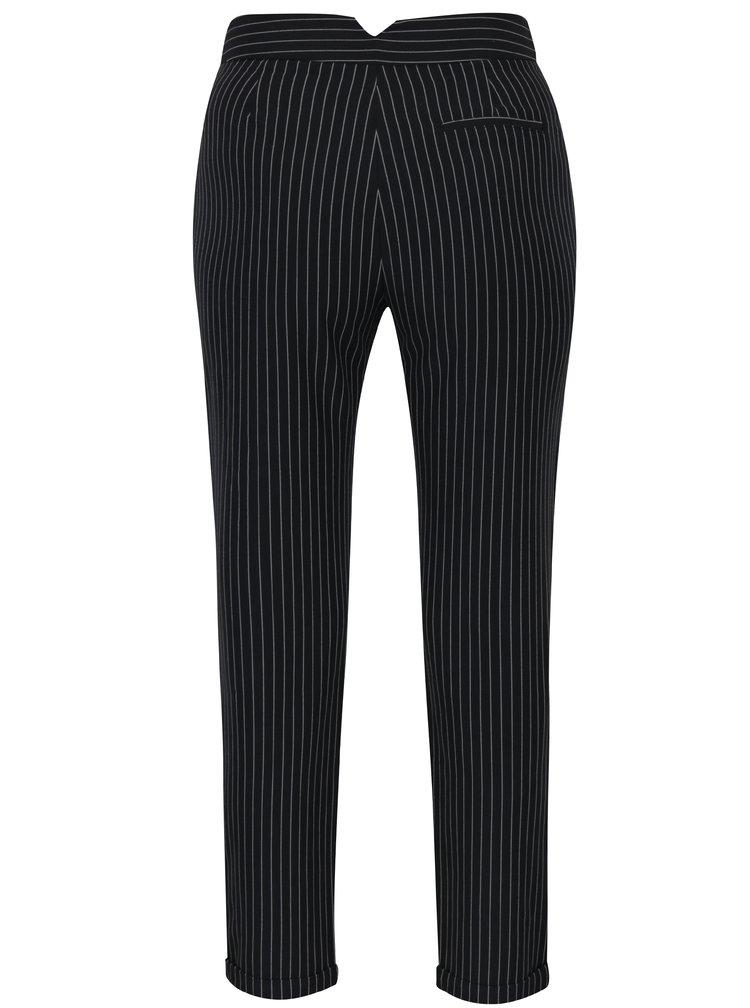 Černé pruhované kalhoty s vysokým pasem TALLY WEiJL