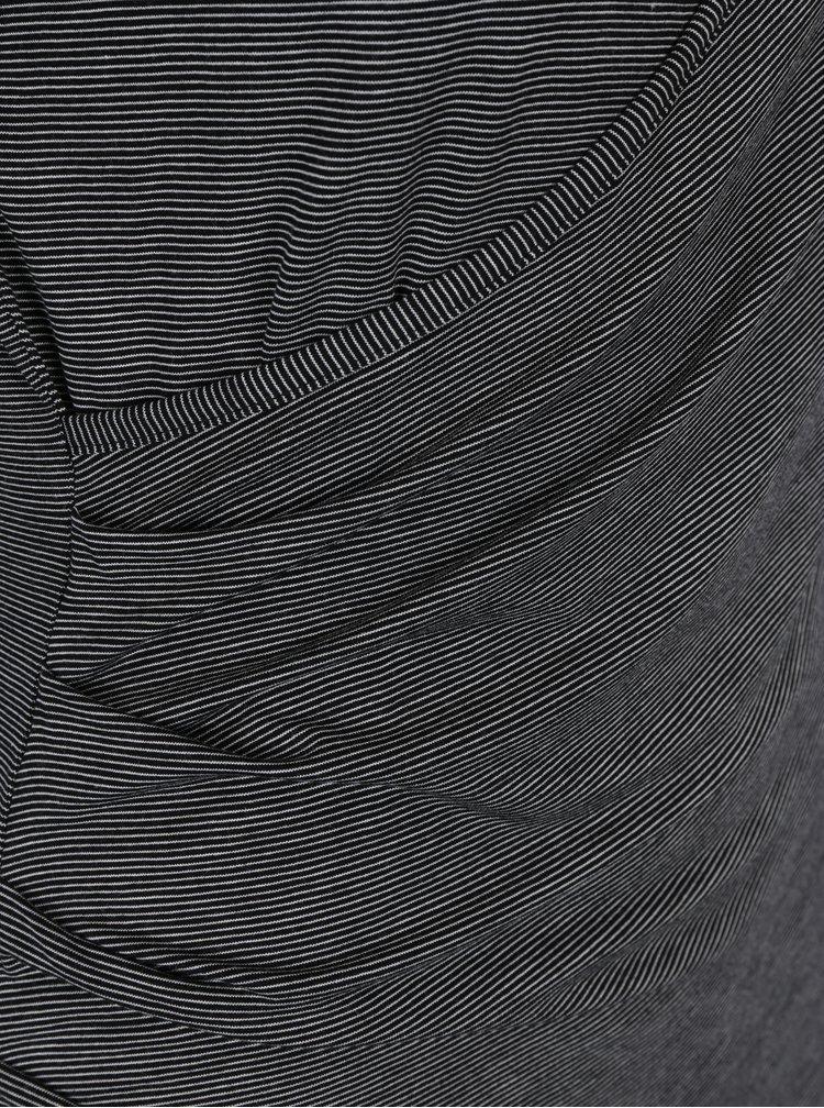Černé zavinovací pruhované šaty Miss Selfridge