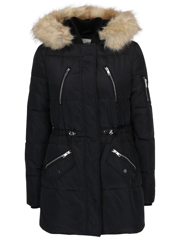 Černá zimní parka s umělou kožešinou TALLY WEiJL