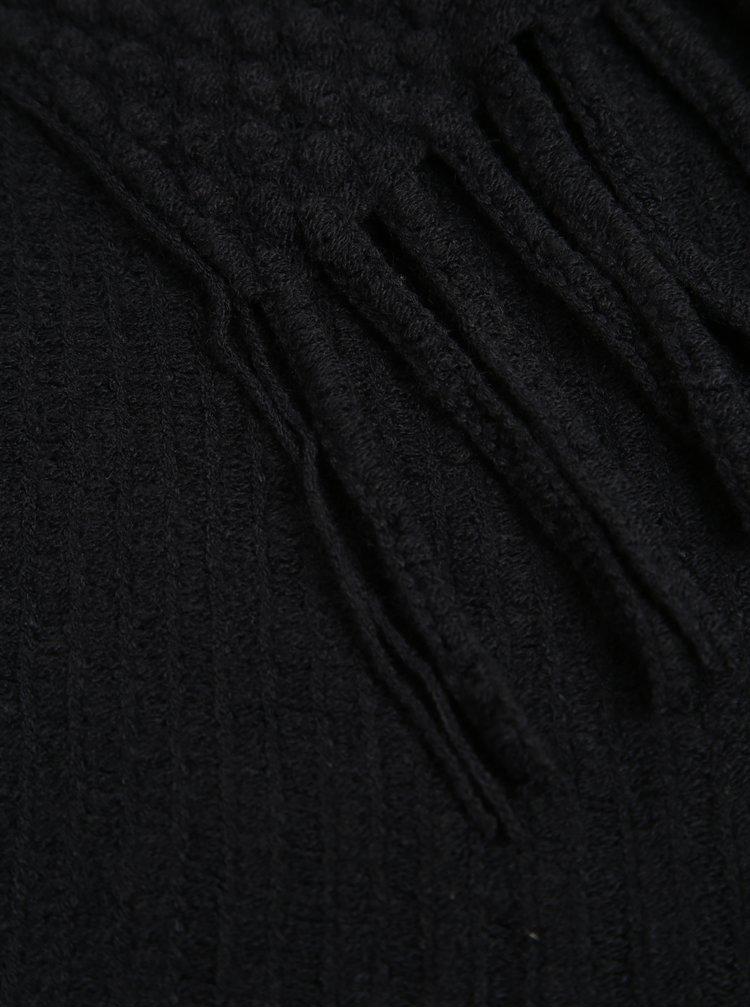 Černá šála s třásněmi Pieces Vera