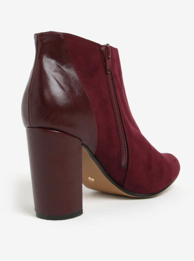 Vínové kotníkové boty v semišové úpravě Dorothy Perkins