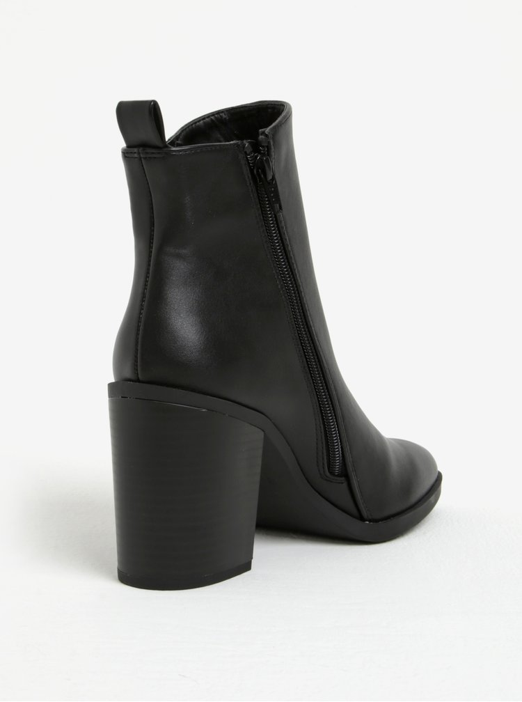 Černé kotníkové boty na širokém podpatku Dorothy Perkins
