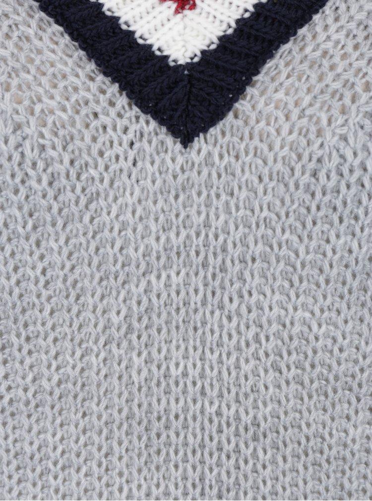 Šedý svetr s véčkovým výstřihem Haily´s Giulia