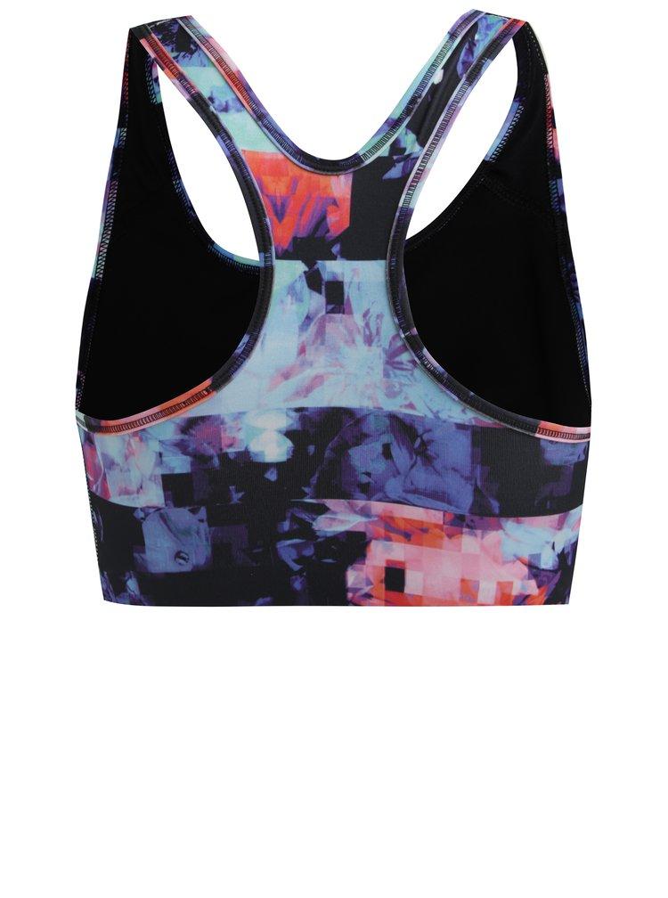 Černo-modrá dámská vzorovaná sportovní podprsenka Nike Swoosh Flower