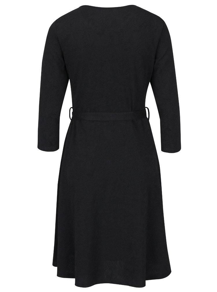 Černé květované šaty s 3/4 rukávy Smashed Lemon