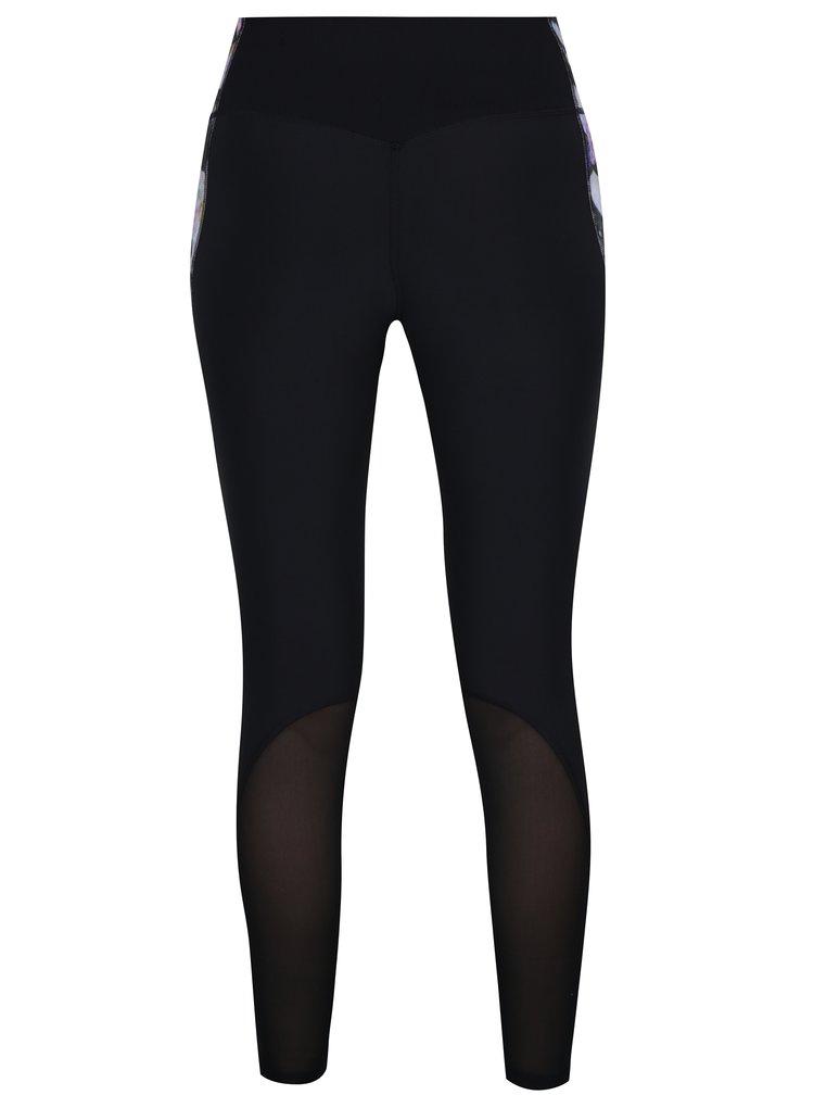 Fialovo-černé dámské květované funkční legíny Nike Power Legend