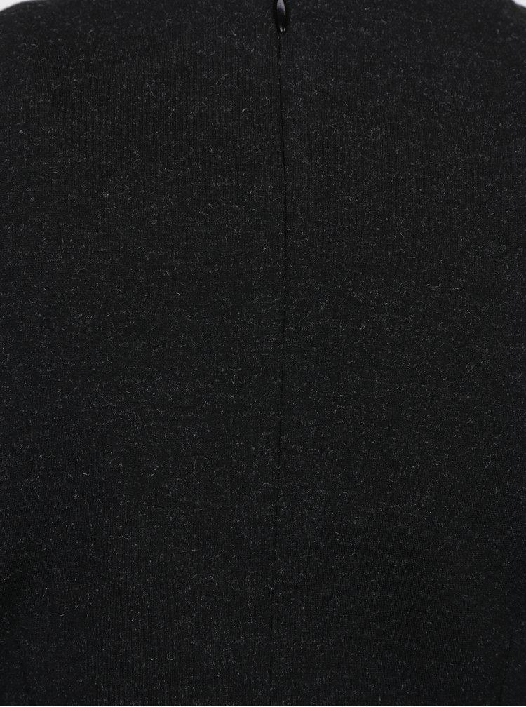 Tmavě šedé šaty s překládaným výstřihem a řasením na boku Smashed Lemon