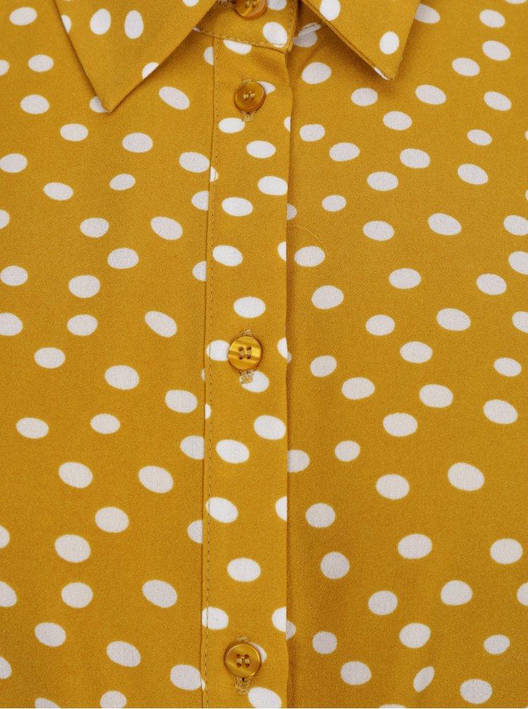Rochie format retro maxi ocru cu print buline - Selected Femme Chanie