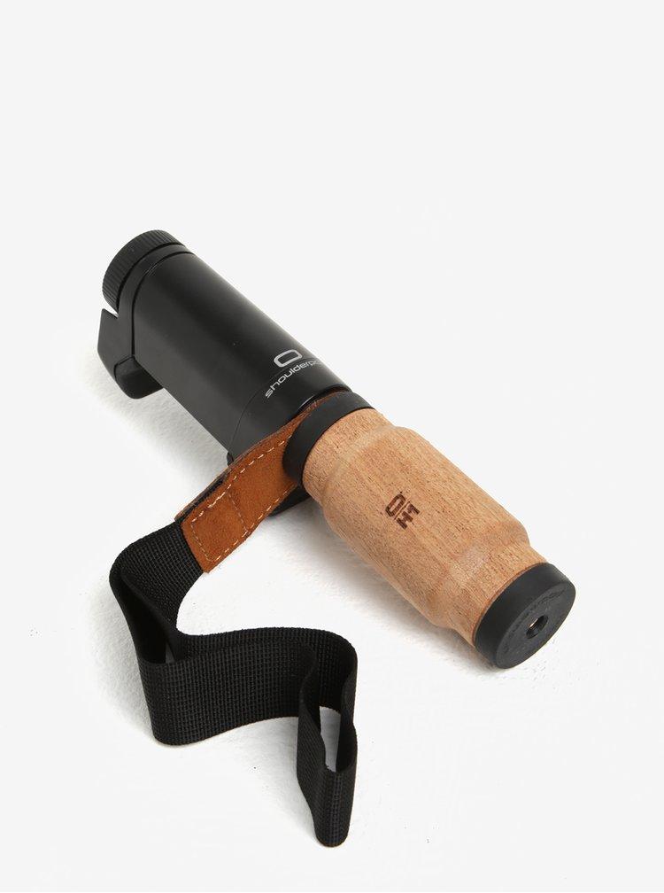 Černý držák na telefon s dřevěnou rukojetí Shoulderpod S2