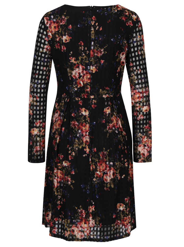 Rochie neagra cu print floral si detalii din plasa Smashed Lemon