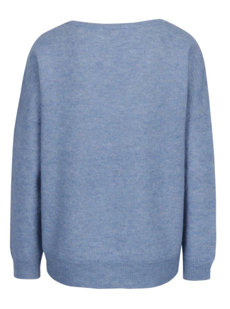 Světle modrý žíhaný vlněný svetr Selected Femme Livana