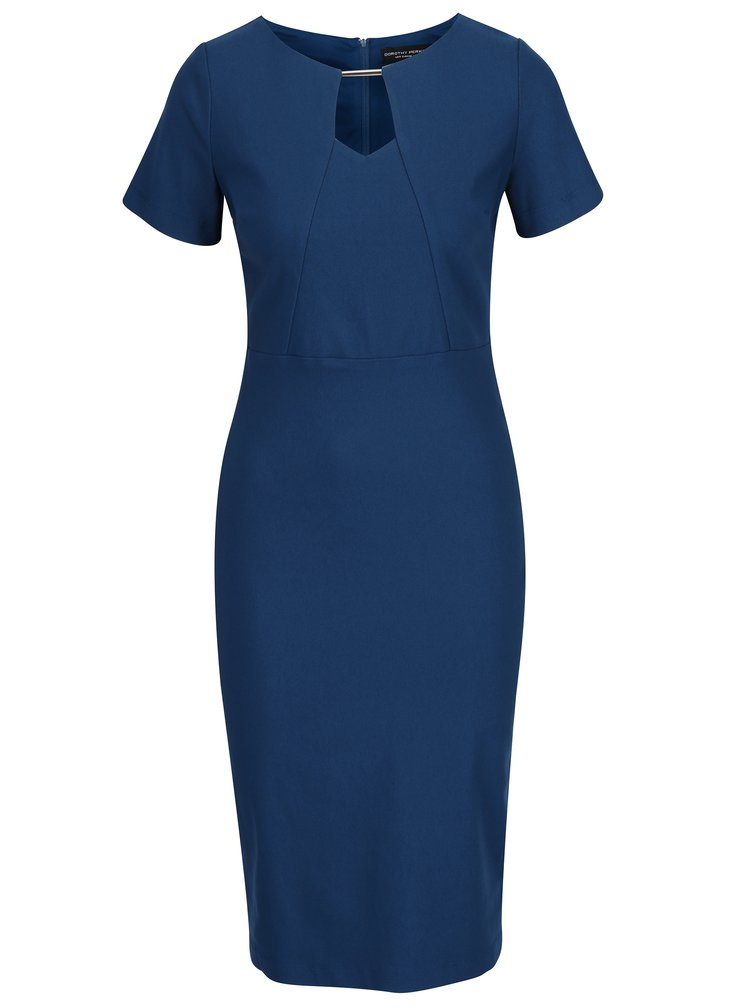 Modré pouzdrové šaty s kovovým detailem v dekoltu Dorothy Perkins